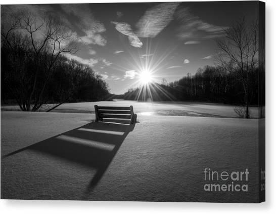 Mv Canvas Print - Snowy Bench Bw by Michael Ver Sprill