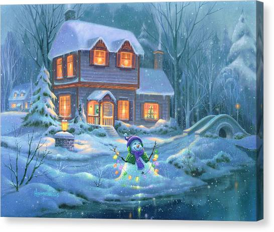 Christmas Lights Canvas Print - Snowy Bright Night by Michael Humphries