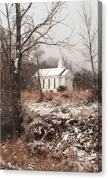 Snowy Chapel In The Wildwood Canvas Print