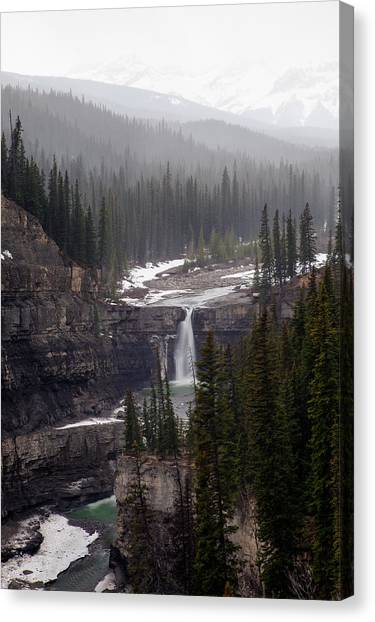 Snowy Crescent Falls Canvas Print