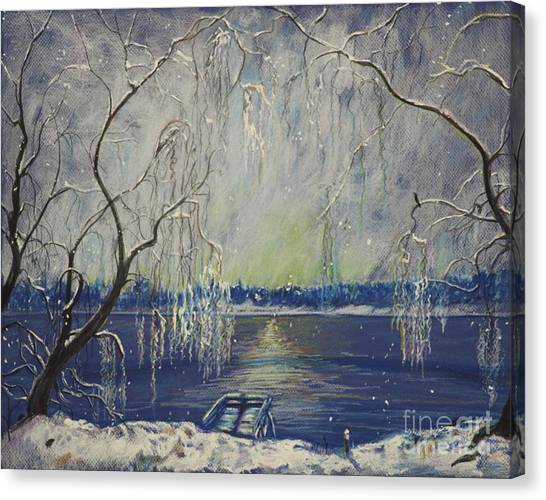 Snowy Day At The Lake Canvas Print