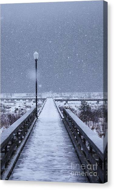 Snowy Day On The Boardwalk Canvas Print