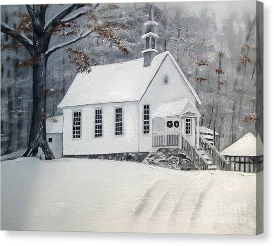 Snowy Gates Chapel  -little White Church - Ellijay Canvas Print