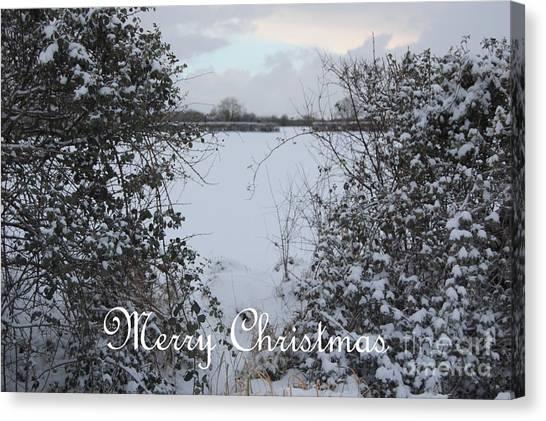 Snowy Heart For Christmas Canvas Print