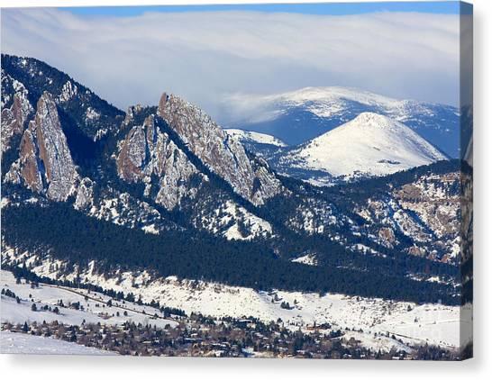 University Of Colorado Canvas Print - Snowy Hills Of Boulder by Steve Krull