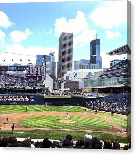 Minnesota Twins Canvas Print - Snowy Morning - Twins Game In The by Zeke Rice