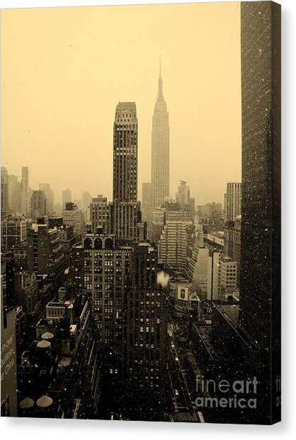 Snowy New York Skyline Canvas Print