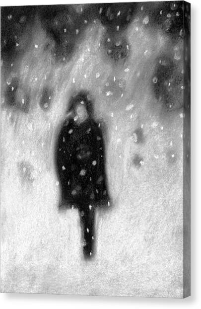 Snowy Night Canvas Print by Angie Brown