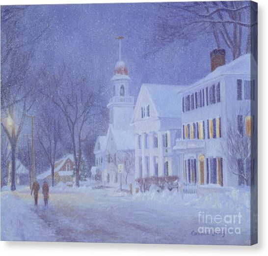 George W. Bush Canvas Print - Snowy Night Kennebunkport by Candace Lovely