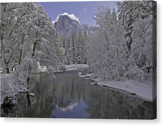 Snowy River And Half Dome Canvas Print