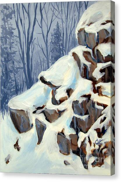 Snowy Rocks Canvas Print