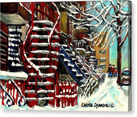 Snowy Steps The Red Staircase In Winter In Verdun Montreal Paintings City Scene Art Carole Spandau Canvas Print