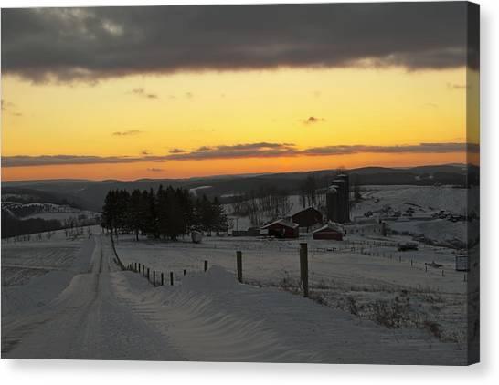 Snowy Pennsylvania Sunset Canvas Print