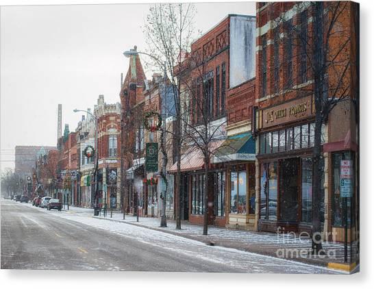 Snowy Third Street Downtown Winona II Canvas Print