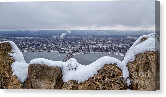 Canvas Print featuring the photograph Snowy View From Garvin Heights Winona by Kari Yearous