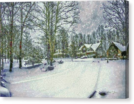 Snowy Winter's Day Canvas Print by Barry Jones