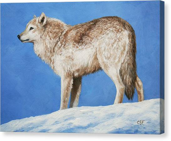 Dogs In Snow Canvas Print - Snowy Wolf by Crista Forest