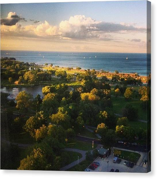 Lake Michigan Canvas Print - So Beautiful In The Evening #chicago by Jennifer Gaida