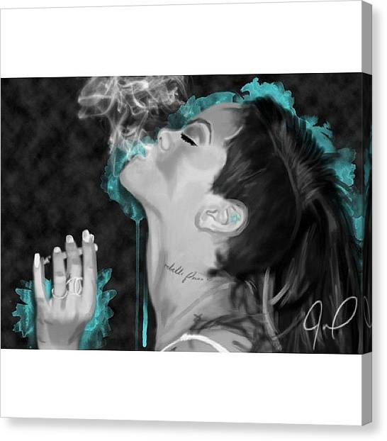 Rihanna Canvas Print - So I Drew This Picture Of @badgalriri by Julia Campbell