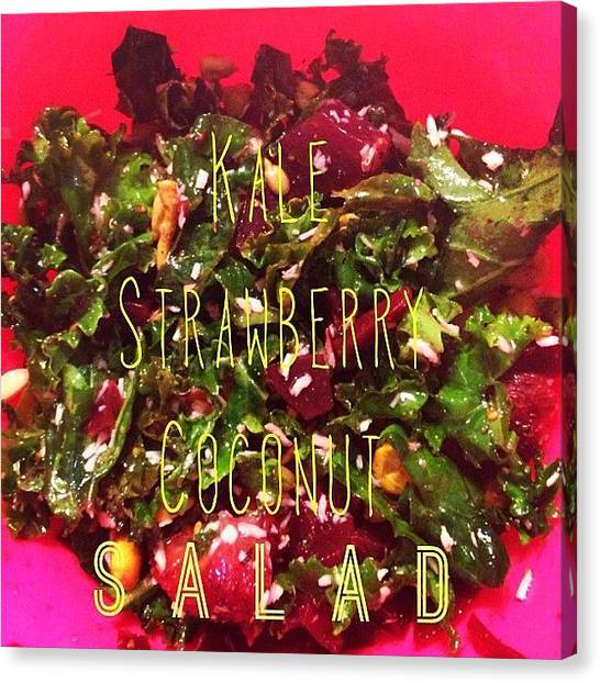 Salad Canvas Print - So I Got This Kale Strawberry And by Lyndsey Vizina