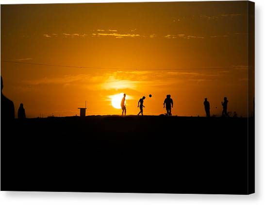 Mls Canvas Print - Soccer At Sunset by Kyle Morris