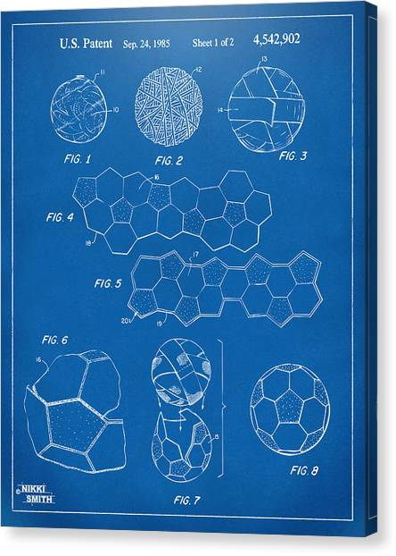 World Cup Canvas Print - Soccer Ball Construction Artwork - Blueprint by Nikki Marie Smith