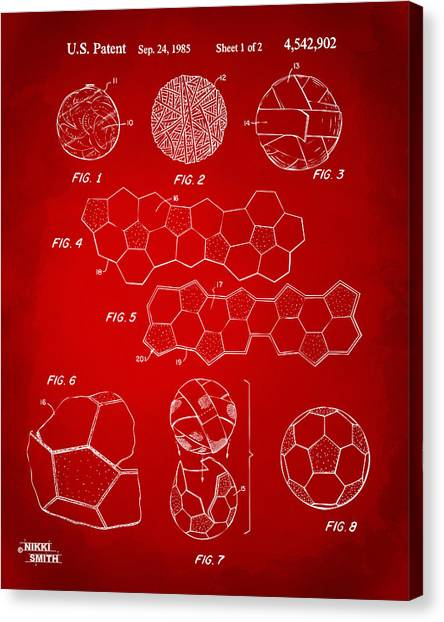World Cup Canvas Print - Soccer Ball Construction Artwork - Red by Nikki Marie Smith