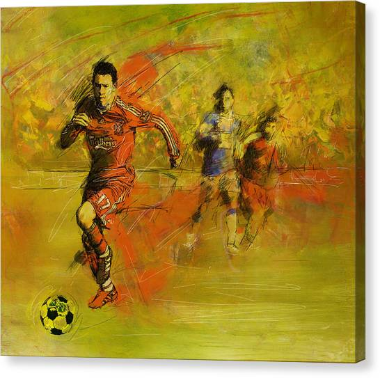 Calgary Flames Canvas Print - Soccer  by Corporate Art Task Force