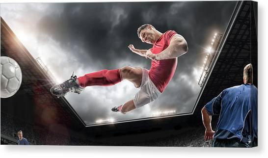 Soccer Kick Canvas Print by Peepo