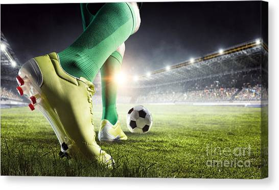 3d Canvas Print - Soccer Player In Action. Mixed Media by Sergey Nivens