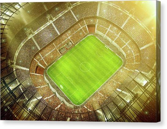 Soccer Stadium Bird Eye View Canvas Print by Dmytro Aksonov