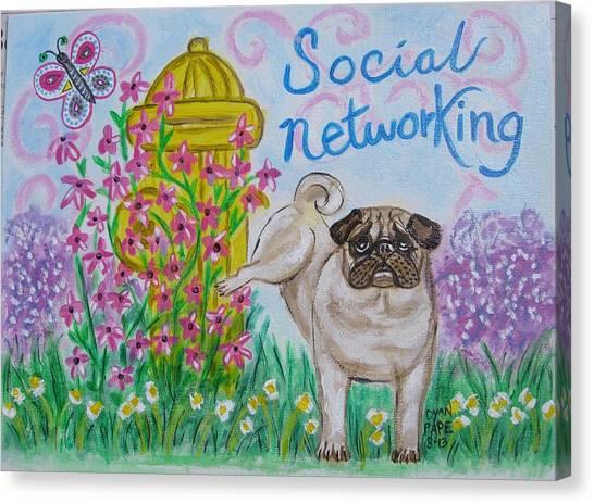 Social Networking Pug Canvas Print