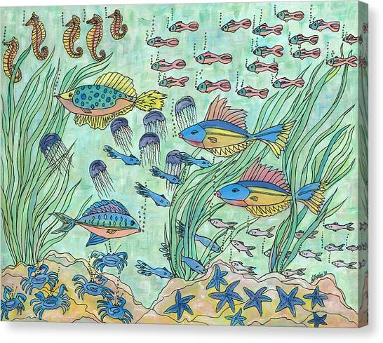 Society Of Fish Canvas Print