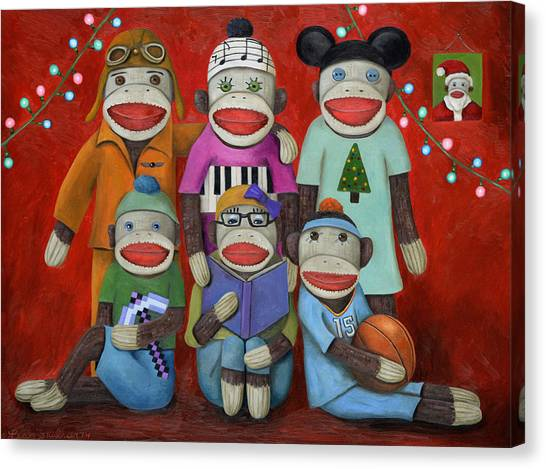 Minecraft Canvas Print - Sock Doll Family Portrait  by Leah Saulnier The Painting Maniac