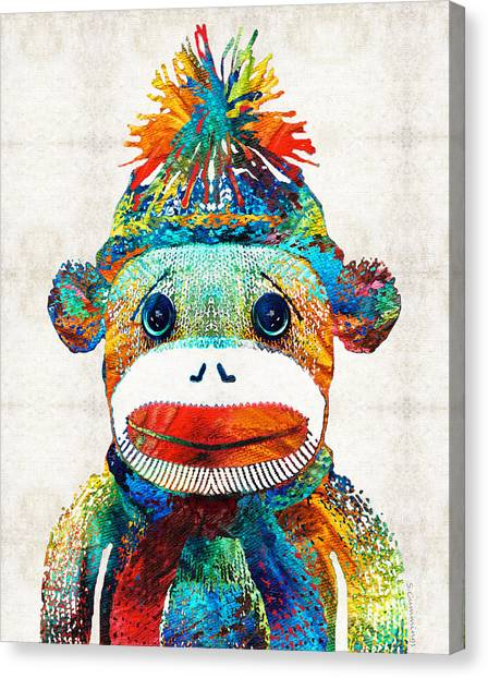 Baby Shower Canvas Print - Sock Monkey Art - Your New Best Friend - By Sharon Cummings by Sharon Cummings