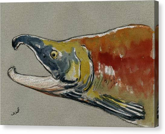 Back Canvas Print - Sockeye Salmon Head Study by Juan  Bosco