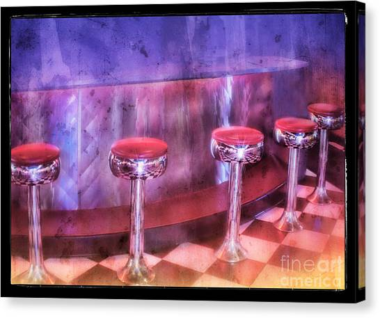 Soda Fountain Stools II Canvas Print