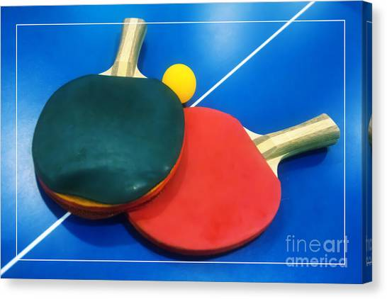 Soft Dreamy Ping-pong Bats Table Tennis Paddles Rackets On Blue Canvas Print