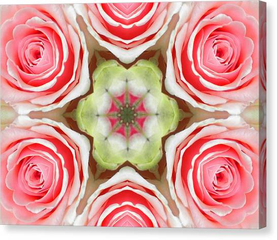 Soft Pink Rose Mandala Canvas Print