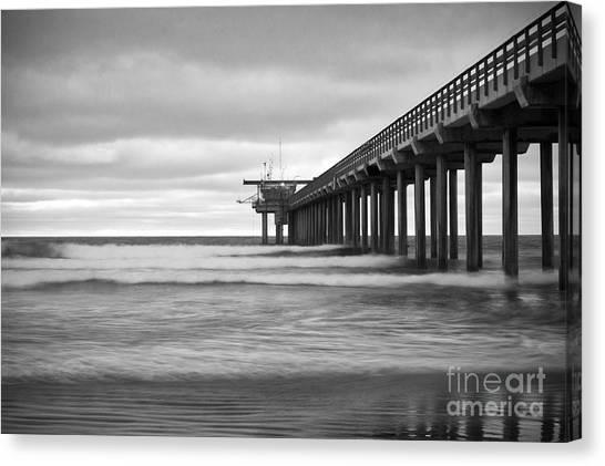 Scripps Pier Canvas Print - Soft Waves At Scripps Pier by Ana V Ramirez