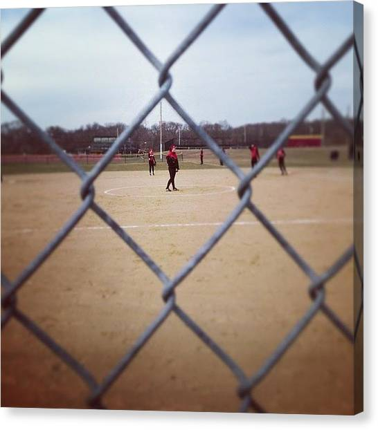 Softball Canvas Print - #softball #fence Www.premosch.com by Jon Premosch