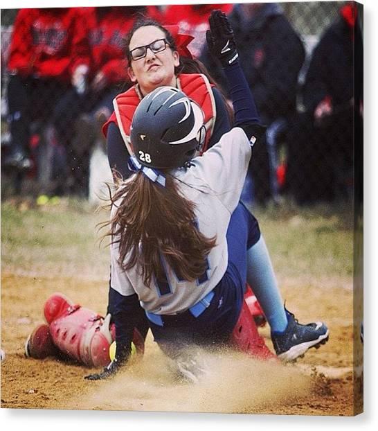 Softball Canvas Print - #softball Girls Go In! Www.premosch.com by Jon Premosch