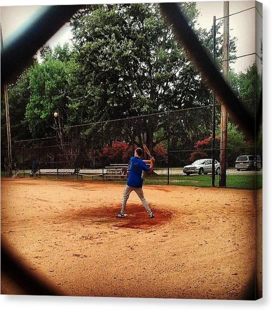 Softball Canvas Print - #softball #playing #batting #brother by Jesse  Halloran