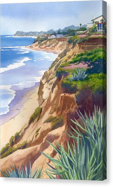 Beach Cliffs Canvas Print - Solana Beach Ocean View by Mary Helmreich