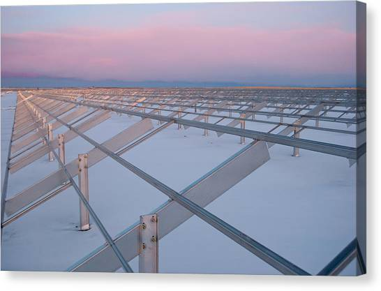 Solar Farms Canvas Print - Solar Farm Construction by Robert VanDerWal