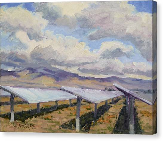 Solar Farm Poppies Canvas Print