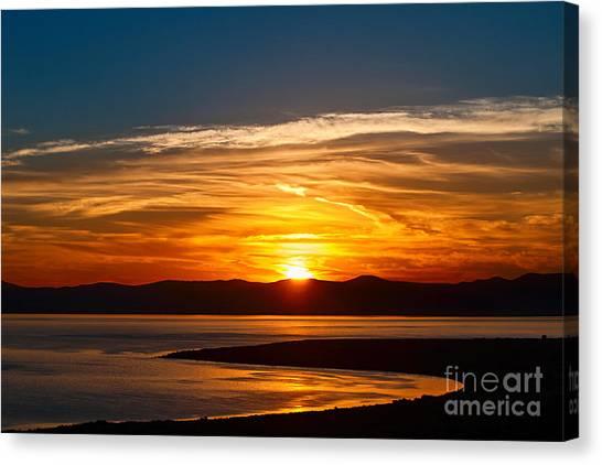 Lake Sunrises Canvas Print - Solar Lava - Colorful Sunrise Over Mono Lake In California. by Jamie Pham