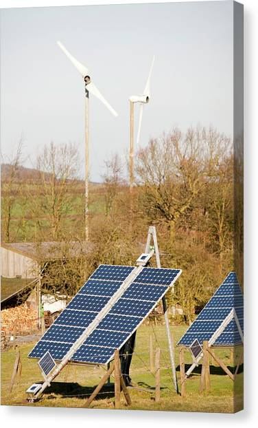Climate Change Canvas Print - Solar Panels And Wind Turbines by Ashley Cooper