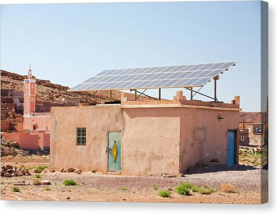 Moroccon Canvas Print - Solar Panels On A House Roof by Ashley Cooper