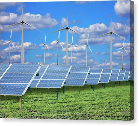 Solar Farms Canvas Print - Solar Panels On A Solar Farm by Victor De Schwanberg